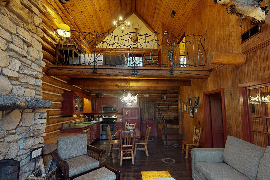 Interior of rustic 2 bedroom cabin with Loft
