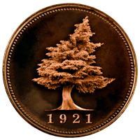 Big Cedar Lodge medallion logo graphic of coin including iconic tree and established date of 1921
