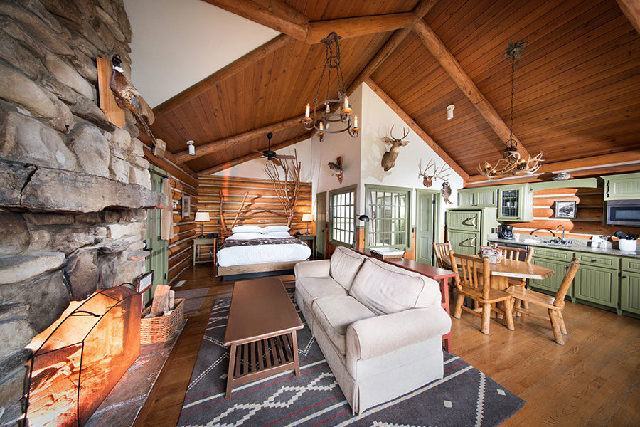 One-room cabin accommodation at Big Cedar with single floor plan and kitchenette.