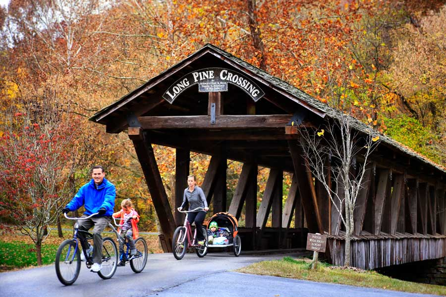 Dogwood Canyon Nature Park at Big Cedar family bike ride across the Long Pine bridge crossing.