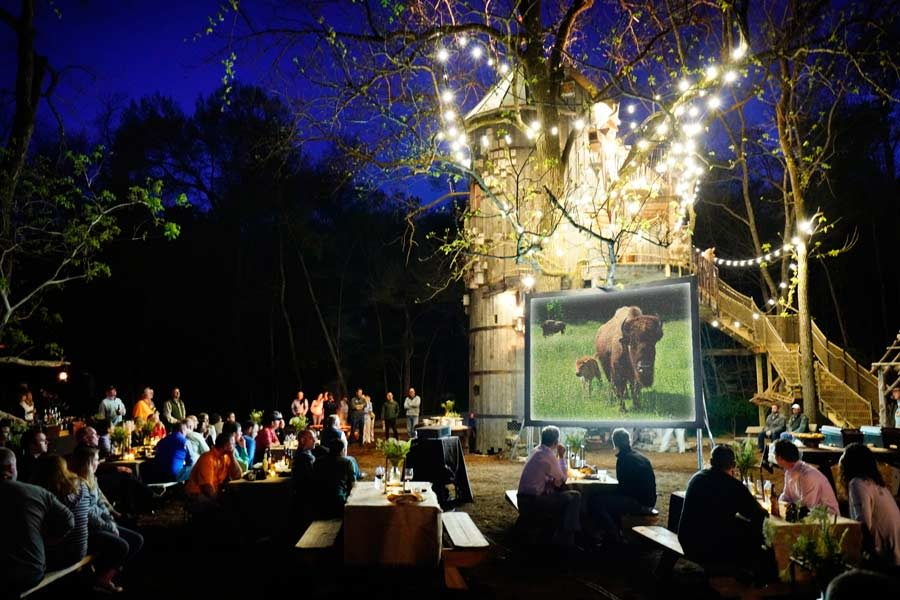 Group getaway venue for outdoor movie and picnic at Dogwood Canyon Nature Park at Big Cedar