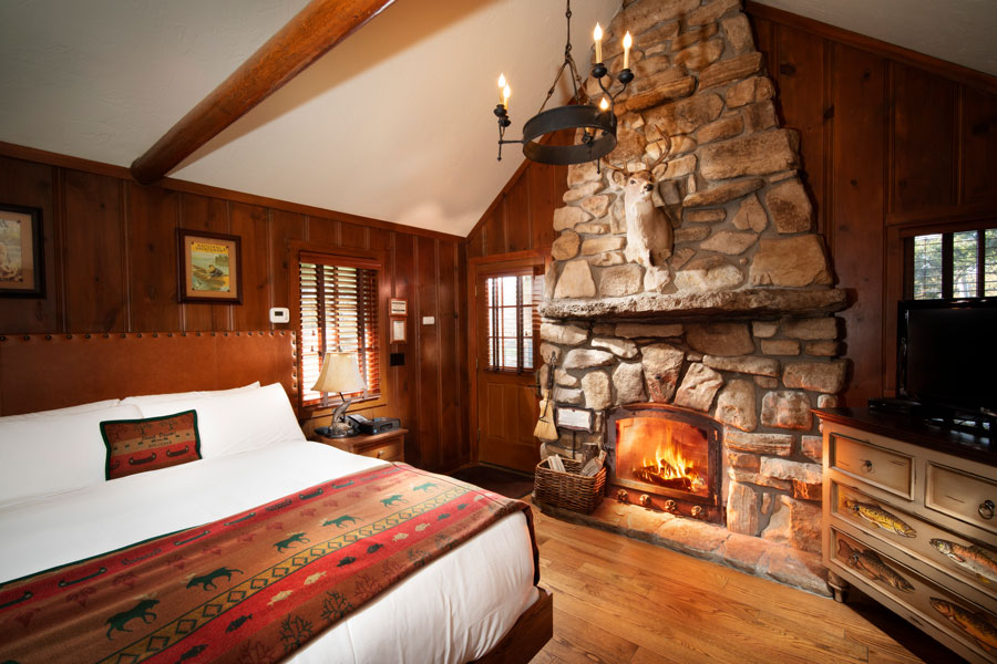 Knotty Pine One Room Cottage with fireplace at Big Cedar