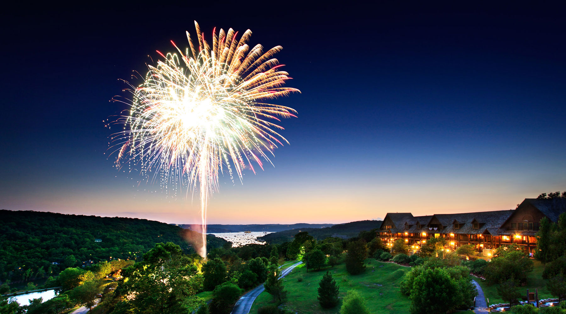 Fireworks light up the sky at Big Cedar Lodge