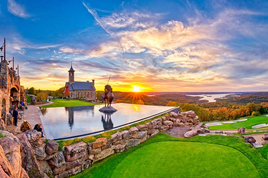 Top of the Rock panorama view of reflecting pool, golf course and chapel at Big Cedar