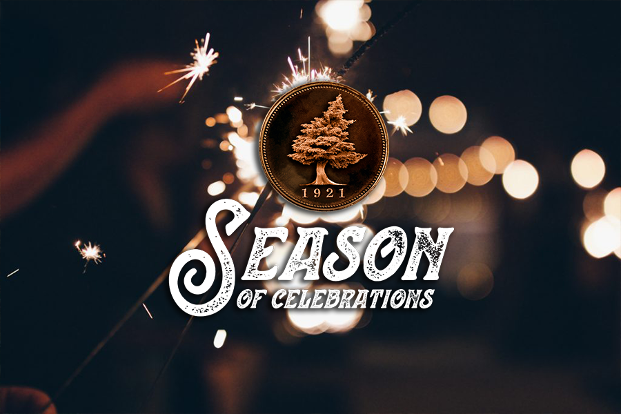 Seasons of Celebration logo with sparklers in the background