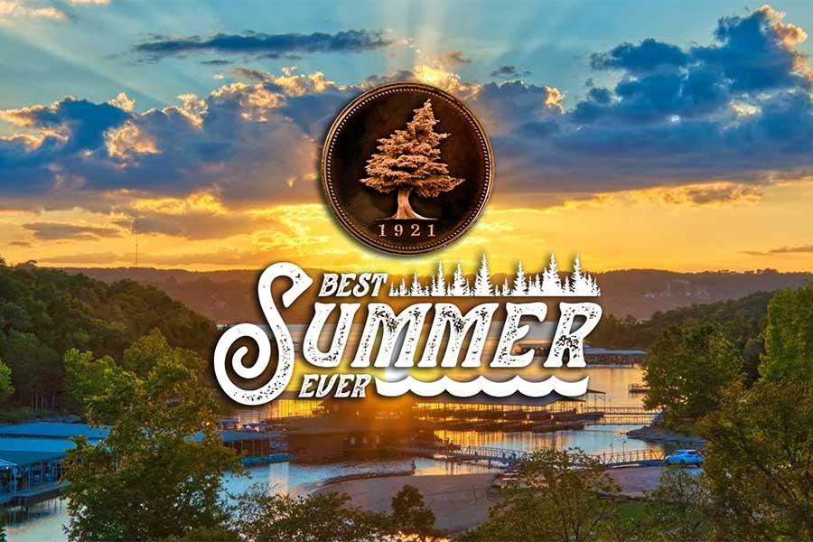 Best Summer Ever Logo over photo of Big Cedar marina overlooking the Table Rock Lake