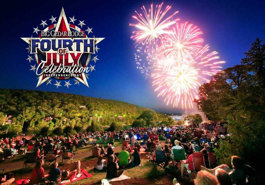 Fireworks light up the sky at Big Cedar Lodge with Fourth of July Logo