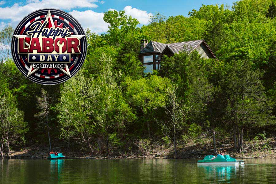 Paddle boating on Table Rock Lake at Big Cedar with Labor Day Logo