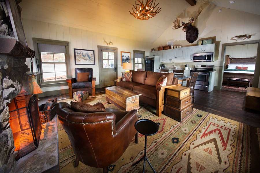 Interior of Lakeside Cottage with rustic decor