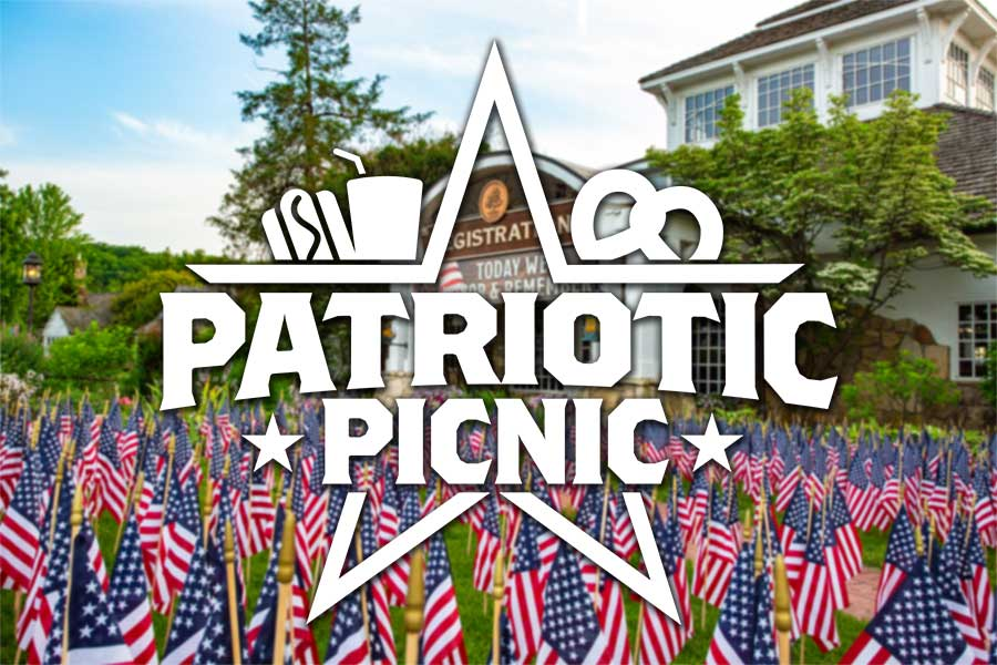Patriotic Picnic Logo with photo of flags at the Registration Building