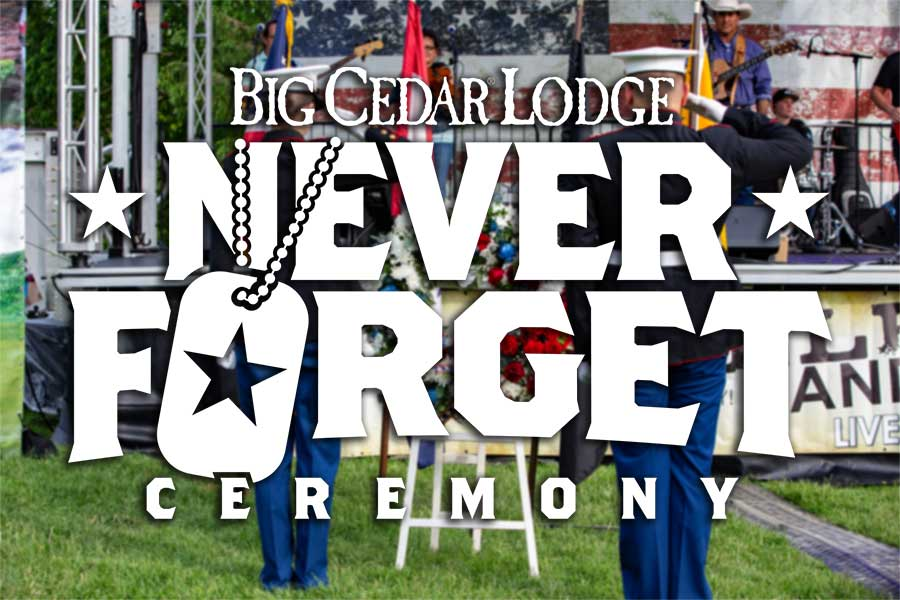Never Forget Ceremony Logo with Salute Photo