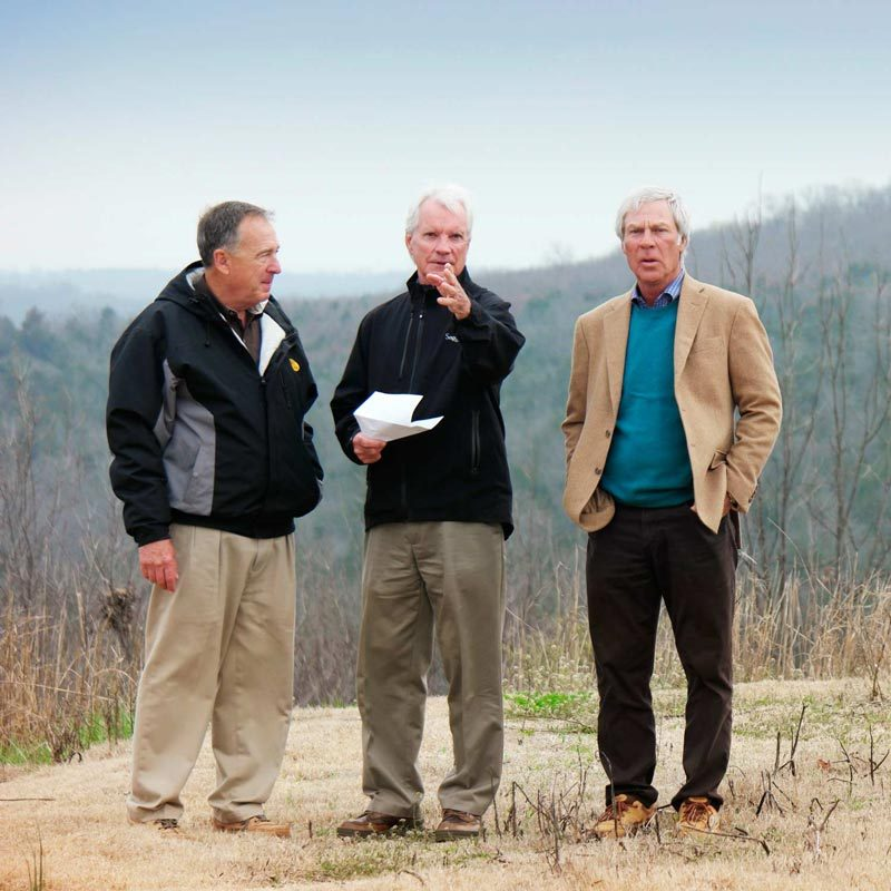 Coore and Crenshaw with Johnny Morris discussing plans for Ozark National golf course at Big Cedar