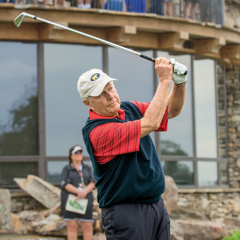 Jack Nicklaus tees off during Legends of Golf at Top of the Rock golf course