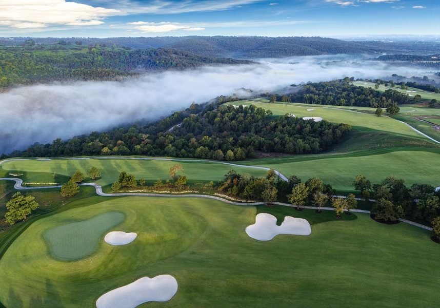 Paynes Valley aerial of golf course at Big Cedar